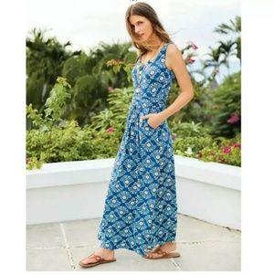 Boden Blue Floral Print Diana Jersey Maxi Dress 8